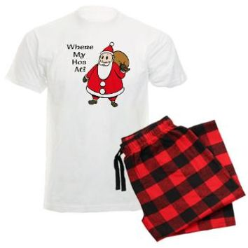 WHERE MY HOES AT? Men's Light Pajamas Funny Santa Claus PJs FUN CHRISTMAS HOLIDAY CLOTHES