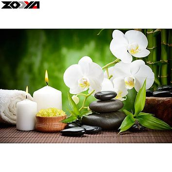ZOOYA 5D DIY Diamond embroidery Orchid&candle&stone diamond painting Cross Stitch full square Rhinestone mosaic decoration MX