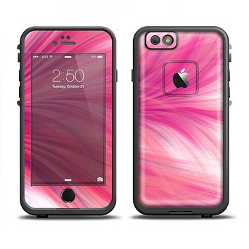 The Abstract Pink Flowing Feather Skin Set for the Apple iPhone 6 LifeProof Fre Case