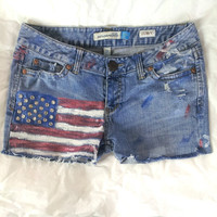Hand-Painted US Flag Shorts size 7 / 8 Patriotic July 4th 30 waist