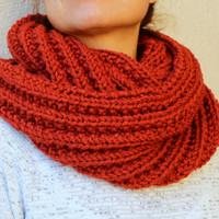 Circle Scarf  Burnt Orange Hand Knitted Infinity Scarf Winter Accessories / Snood /Brick /  Chunky Scarf /  Loop