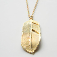 "Gold Necklace - Feather Necklace - Long Necklace - 24"" - Matte Gold Feather Pendant on Matte Gold Chain"