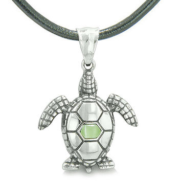 Amulet Sea Turtle Cute Lime Green Cats Eye Crystal Lucky Charm Leather Pendant Necklace