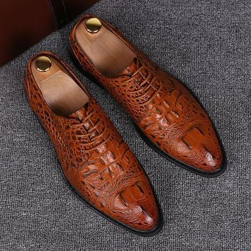 Cow leather shoes alligator pattern flats oxford shoe