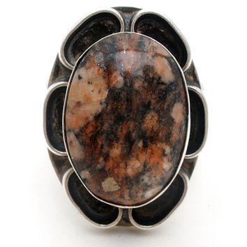 Sterling Silver Ring with Jasper Gemstone Vintage