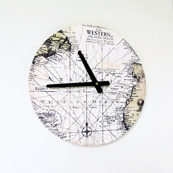 SALE Map Clock, Home and Living, Home Decor, Map Decor, Large Wall Clock
