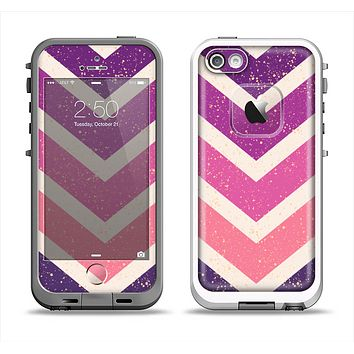 The Purple Scratched Texture Chevron Zigzag Pattern Apple iPhone 5-5s LifeProof Fre Case Skin Set