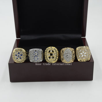 Wooden Boxes 1971/1977/1992/1993/1995 Replica Dallas Cowboys Super bowl Championship Ring Sets Size 8-14