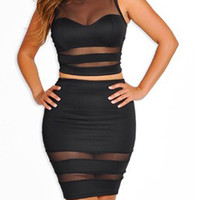 Black Mesh Panel Crop Top and Skirt Set
