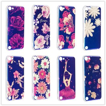 Colored Flowers Blue Light Flash powder Phone Case For iPod touch 5 6 Blue Glitter Gril Soft TPU Cover Mobile Phone Shell