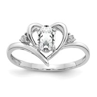 14k White Gold Genuine White Topaz & Diamond Heart Ring