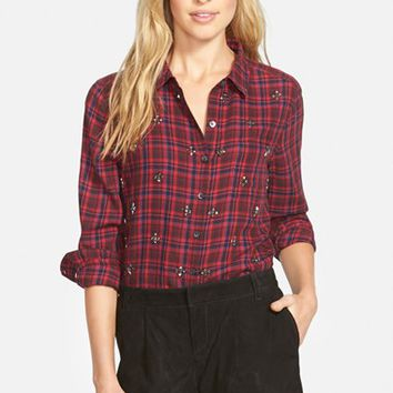 Women's Halogen Embellished Plaid Shirt,