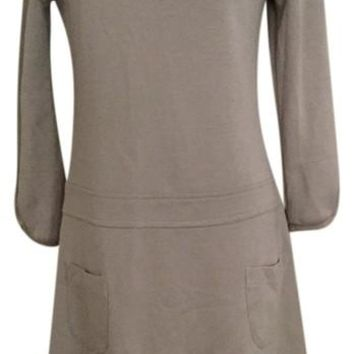 NWT Toupy Paris Taupe Drop Waist Wool Dress, Medium