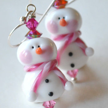 Christmas Earrings, Snowman Earrings, Lampwork Glass Dangle, Festive Holiday Jewelry, Stocking Stuffer