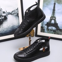 Gucci Fashion Bee Embroidery Leather High top Sneaker