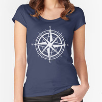 Compass T-shirt - North Star Fitted Scoop Neck Women's Tshirt - Navy Blue T- Shirt