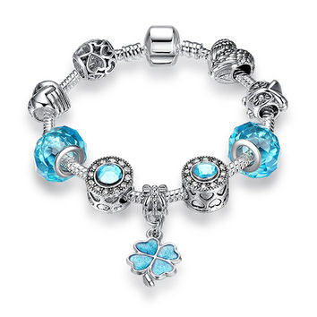 Silver 925 Murano Glass  Bracelet With Exquisite Four Leaf Clover Pendant