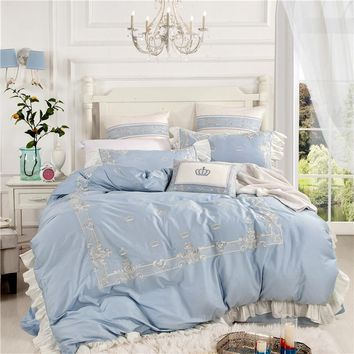 4/6/7Pcs Luxury Egypt Cotton Princess Diaries Bedding Set  Embroidery Ruffles Duvet cover set Bed Sheet Pillowcases Queen King
