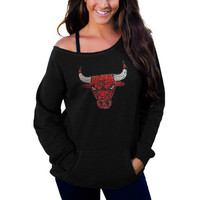 Chicago Bulls Cuce Women's Sideliner II Off The Shoulder Long Sleeve Top – Black