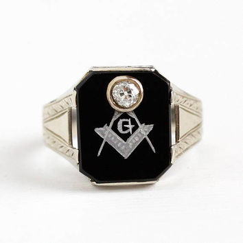 Vintage Mason Ring - 14k White Gold Art Deco Black Onyx & Diamond OB Ostby Barton Signet - Men's 1920s Size 9 1/4 Freemason Fine Jewelry