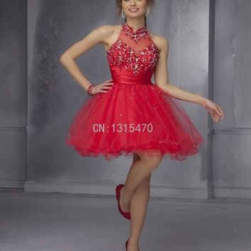 Delicacy Beaded Sequins Stunning Sexy Backless Red Cocktail Dresses Halter Homecoming Dresses Short Party Dresses Robe Cocktail