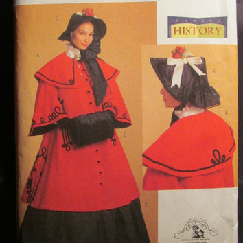 SALE Uncut Butterick Sewing Pattern, 5266! 8-10-12-14 Women's/Misses Historical Costume/Lined Cloke Capelet/Full Flared Skirt/Bonnet/Fur Muf