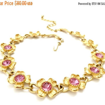 Trifari TM Flower Necklace, Seven Gold Tone Flowers with Pink Rhinestone Centers, Four Gold Tone Flowers, Vintage Jewelry, Designer Signed