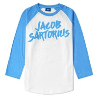 Logo White / Heather Lake Blue Raglan : JACB : Jacob Sartorius