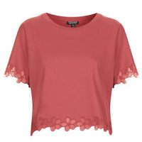 Daisy Organza Tee - Berry Red