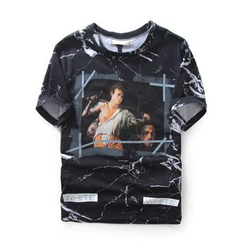 kuyou Off-White Punishment Marble T-Shirt