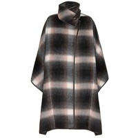 salvatore ferragamo - alpaca cape with leather
