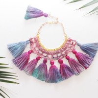 FLORIAN / crocheted and hand dyed cotton necklace - Ready to Ship