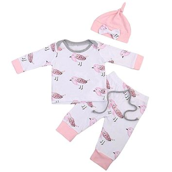 Baby Clothing babies Overalls for newborns Kids' things Baby Girls Boys Birds Print Tops T-Shirt Pants Cap 3PCS Baby Clothing
