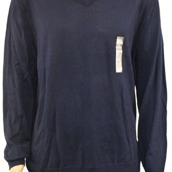Club Room Men's Long Sleeve V-Neck Merino Wool-Blend Blue Pullover Sweater XXL
