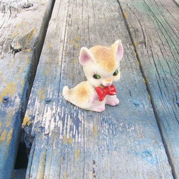 Vintage Dog Figurine with Red Bow Made in Japan Salt Glaze Texture