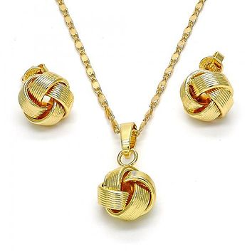 Gold Layered 10.63.0513 Earring and Pendant Adult Set, Love Knot Design, Polished Finish, Golden Tone