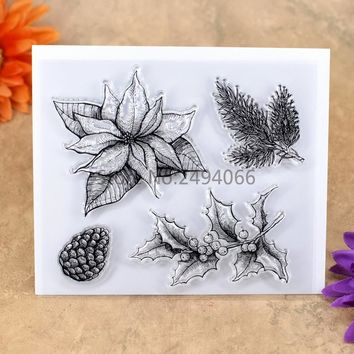 Christmas Leaves Pine Berry Scrapbook DIY photo cards account rubber stamp clear stamp transparent stamp 11.5x12.5cm 7051608