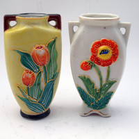Made in Occupied Japan Miniature Pair of Flower Vases