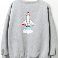 Cartoon Print Loose Grey Sweatshirt