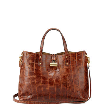 Cheri Croc-Embossed Tote Bag, Burnt - Eric Javits