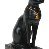 Bastet Egyptian Cat Statue with Scarab Necklace 8.5H