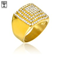 Jewelry Kay style Men's Iced Out Stainless Steel CZ Stoned Square Domed Band Pinky Rings SSR 308