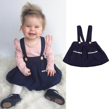 Baby Girl Bib Strap Skirt Babies Girls Sleeveless Braces Above Knee Skirts Casual Autumn Party Pocket Clothing 0-3T Clothes