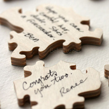 Custom 10 piece WOOD Puzzle Wedding Guest Book Alternative by BELLA PUZZLES