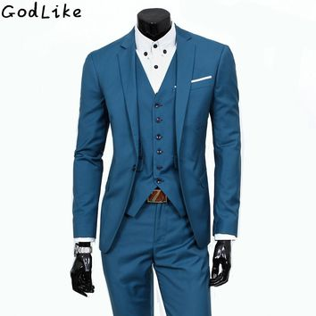 New 2017 Mens Light Grey Suits Jacket Pants Formal Dress Men Party Suit Set men wedding suits groom tuxedos Male leisure Blazers