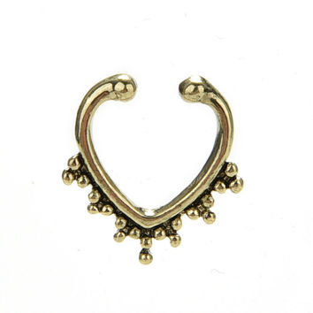 Bronze Nose Hoop Ring Sexy Fake Septum Nose Rings Faux Piercing Nose Studs Body Jewelry Gold Silver SM6