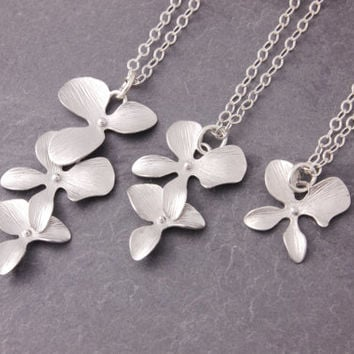 Mother Daughter Necklace, silver orchid necklace, mom necklace, pair necklace, sisters necklace, matching necklaces, friendship, N10