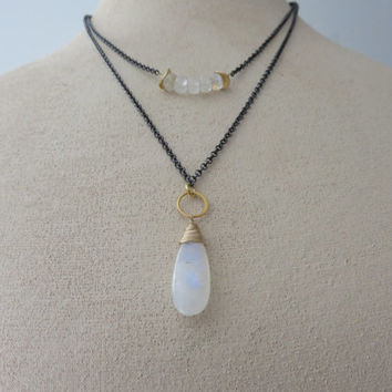 Rainbow Moonstone LUXE AAA Gold Filled and Oxidized Sterling Silver Double Strand Necklace