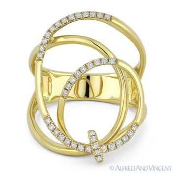 0.25 ct Round Cut Diamond 14k Yellow Gold Right-Hand Overlap Swirl Fashion Ring