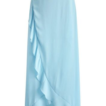 The Mermaid Song Frilling Maxi Skirt in Blue